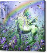 Unicorn Of The Butterflies Acrylic Print by Carol Cavalaris