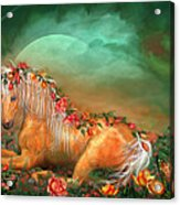 Unicorn Of The Roses Acrylic Print by Carol Cavalaris