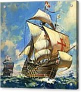 Unidentified Sailing Ships Acrylic Print by Andrew Howat