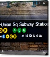 Union Square Subway Station Acrylic Print by Susan Candelario