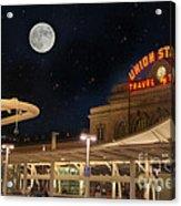 Union Station Denver Under A Full Moon Acrylic Print