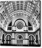 Union Station Lobby Black And White Acrylic Print