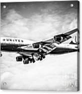United Airlines Boeing 747 Airplane Black And White Acrylic Print