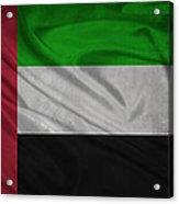 United Arab Emirates Flag Waving On Canvas Acrylic Print