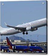 United Boeing 737-924 N75436 Continental Retro Taking Off Phoenix Sky Harbor March 6 2015 Acrylic Print