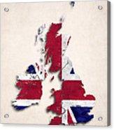 United Kingdom Map Art With Flag Design Acrylic Print