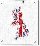 United Kingdom Painted Flag Map Acrylic Print