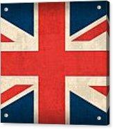 United Kingdom Union Jack England Britain Flag Vintage Distressed Finish Acrylic Print