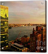 United Nations Building At Nightfall With Chrysler Building Reflection - Landmark Buildings  Acrylic Print