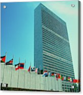 United Nations Building With Flags Acrylic Print