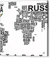 United States And The Rest Of The World In Text Map Acrylic Print by Daniel Hagerman