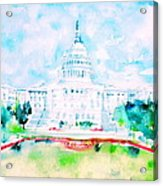 United States Capitol - Watercolor Portrait Acrylic Print