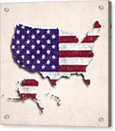United States Map Art With Flag Design Acrylic Print