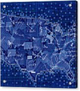 United States Map Collage 7 Acrylic Print