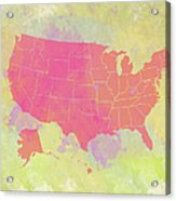 United States Map - Red And Watercolor Acrylic Print
