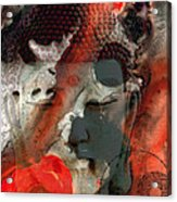 Universal Qi - Zen Black And Red Art Acrylic Print by Sharon Cummings