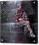 Universe Man Ties His Shoes Acrylic Print