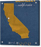 University Of California At Berkeley Golden Bears College Town State Map Poster Series No 024 Acrylic Print