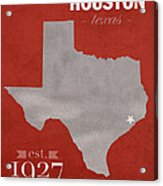 University Of Houston Cougars Texas College Town State Map Poster Series No 045 Acrylic Print