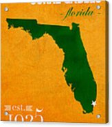 University Of Miami Hurricanes Coral Gables College Town Florida State Map Poster Series No 002 Acrylic Print