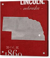 University Of Nebraska Lincoln Cornhuskers College Town State Map Poster Series No 071 Acrylic Print