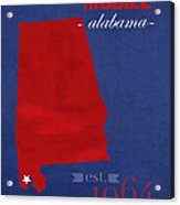 University Of South Alabama Jaguars Mobile College Town State Map Poster Series No 095 Acrylic Print