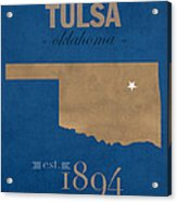 University Of Tulsa Oklahoma Golden Hurricane College Town State Map Poster Series No 115 Acrylic Print