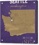 University Of Washington Huskies Seattle College Town State Map Poster Series No 122 Acrylic Print