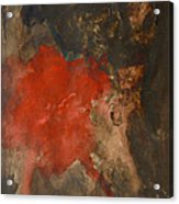 Untitled Abstract - Umber With Scarlet Acrylic Print