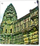 Upper Level Tower In Angkor Wat In Angkor Wat Archeological Park Near Siem Reap-cambodia Acrylic Print