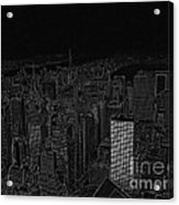 Uptown Nyc White On Black Acrylic Print