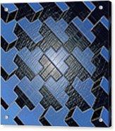 Urban Blue City Boxes Cube Leather Acrylic Print