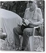 Urban Elder Vern Harper Cleaning Pipes Acrylic Print