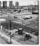 urban farm on unused lot at concord pacific place at false creek Vancouver BC Canada Acrylic Print