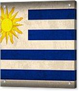 Uruguay Flag Vintage Distressed Finish Acrylic Print