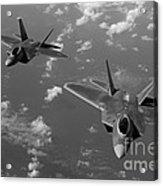 U.s. Air Force F-22 Raptors In Flight Near Guam. Acrylic Print