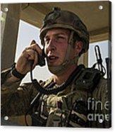 U.s. Air Force Soldier Communicates Acrylic Print