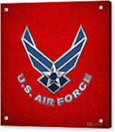 U. S. Air Force  -  U S A F Logo On Red Leather Acrylic Print