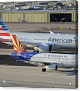 Us Airways Airbus A319 N826aw Arizona American Boeing 787 N801ac Phoenix Sky Harbor March 10 2015 Acrylic Print