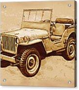 Us Army Jeep In World War 2 - Stylised Modern Drawing Art Sketch Acrylic Print