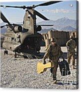 U.s. Army Sergeant Helps Unload Band Acrylic Print