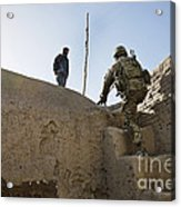U.s. Army Soldier Climbs Stairs Acrylic Print
