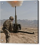U.s. Army Soldier Fires A 122mm Acrylic Print