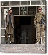 U.s. Army Soldier Stands Guard In Farah Acrylic Print
