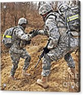 U.s. Army Soldiers Helps A Fellow Acrylic Print