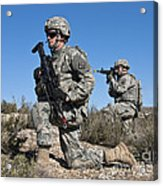 U.s. Army Soldiers Scan The Terrain Acrylic Print