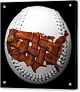 Us Bacon Weave Map Baseball Square Acrylic Print by Andee Design