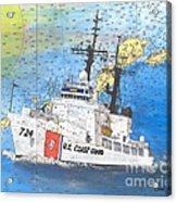 Us Coast Guard Cutter Munro Nautical Chart Cape San Blas Lighthouse Fl Nautical Chart Cathy Peek Acrylic Print
