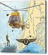 Us Coast Guard Rescue Swimmer Nautical Chart Art Cathy Peek Acrylic Print