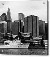 Us Coastguard Cutter Vessel Ship Berthed In Lower Manhattan New York City Acrylic Print